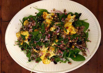 Lentil, Golden Cauliflower and Cherry Salad