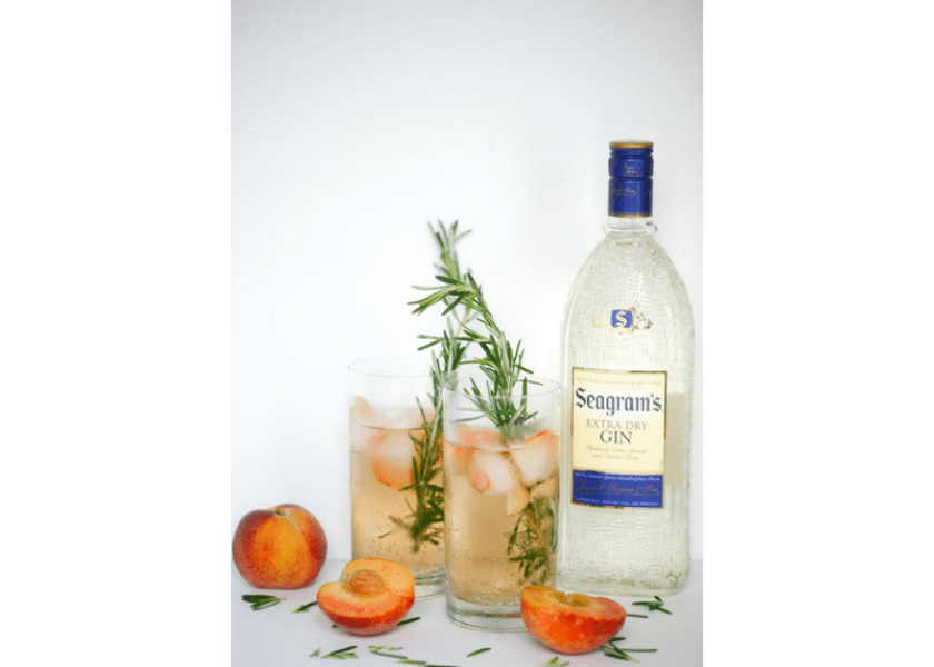 Rosemary Peach Gin Cocktail