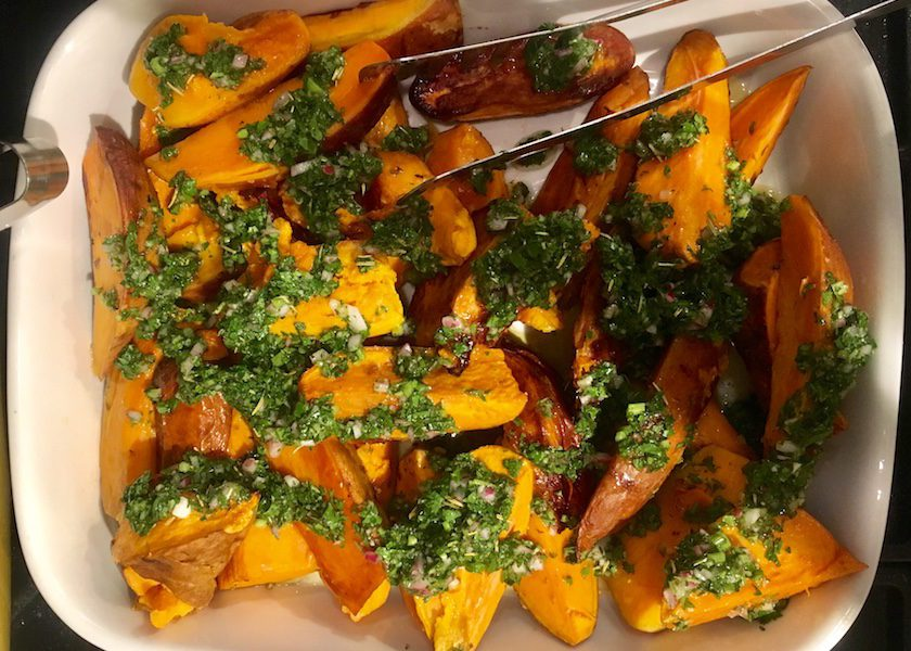 Roasted Sweet Potatoes with Chimichurri Sauce