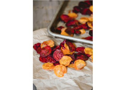 Oven Baked Beet and Sweet Potato Chips