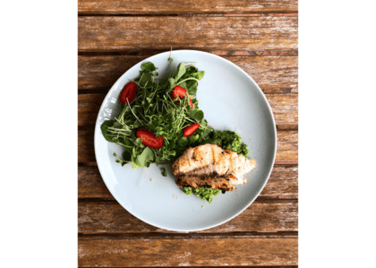 Grilled Fish with a Lemony Mint Pea Mash