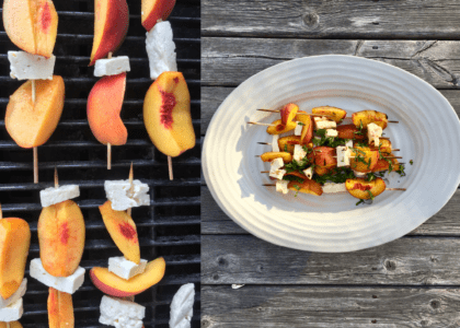 Grilled Nectarine and Halloumi Skewers