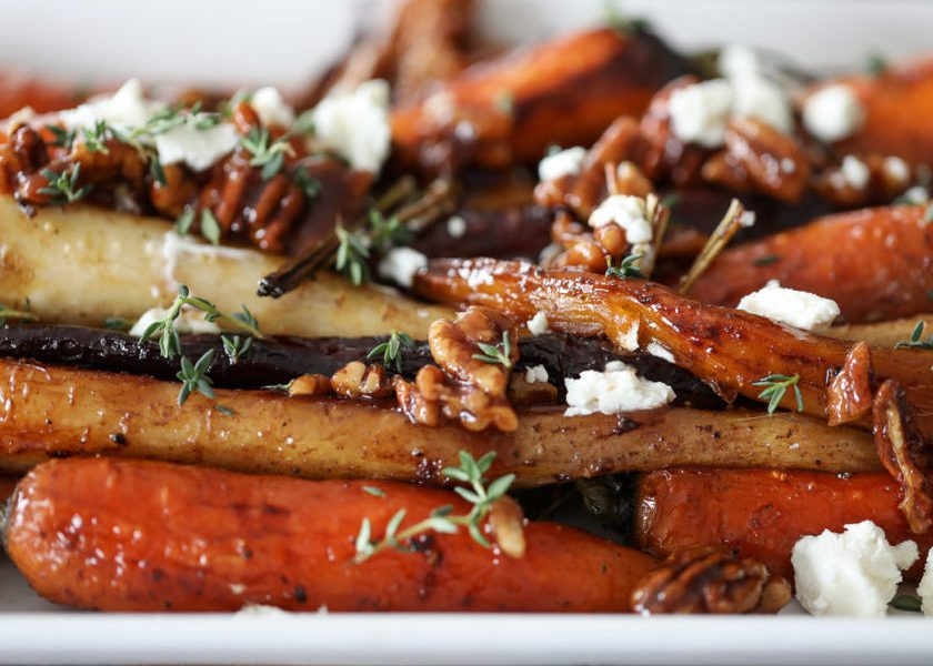 Roasted Carrots with Pecans and Goat Cheese