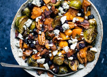 Spicy Maple Roasted Butternut Squash & Brussels Sprouts with Crispy Bacon