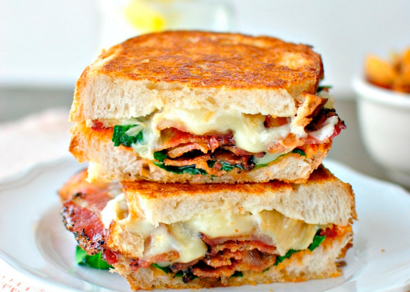 Gourmet Grilled Cheese with Bacon, Avocado and Bermuda Onion