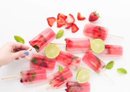 Boozy Homemade Strawberry-Lime Popsicles