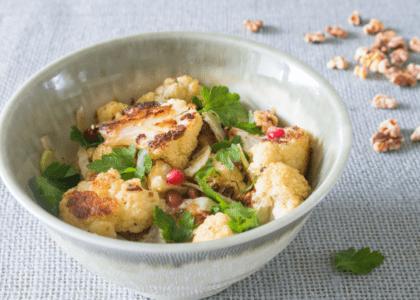 Hygge Salad with Roasted Cauliflower, Pecans and Dijon Vinaigrette